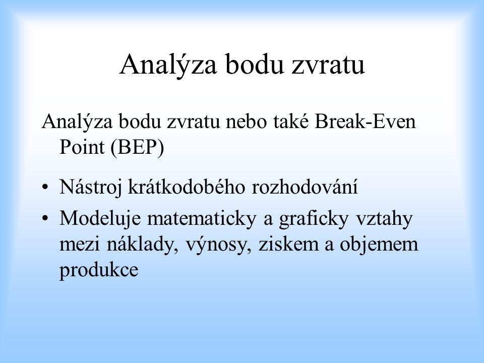 Analýza bodu zvratu Analýza bodu zvratu nebo také Break-Even Point (BEP) Nástroj krátkodobého rozhodování.