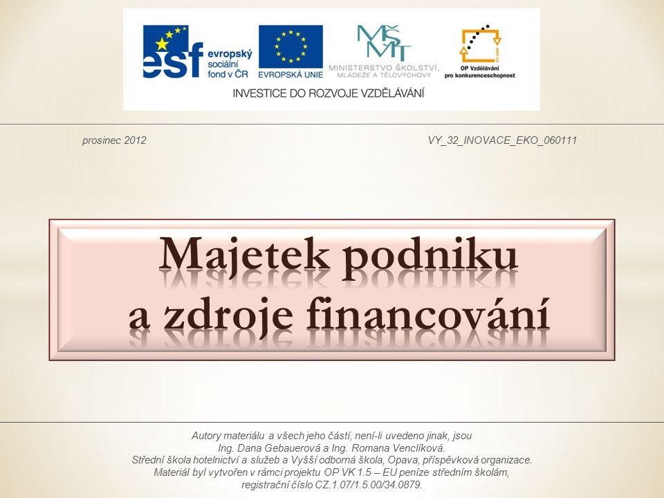 Majetek podniku a zdroje financování