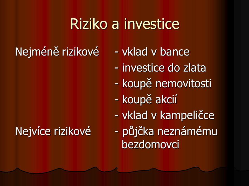 Riziko a investice Nejméně rizikové - vklad v bance