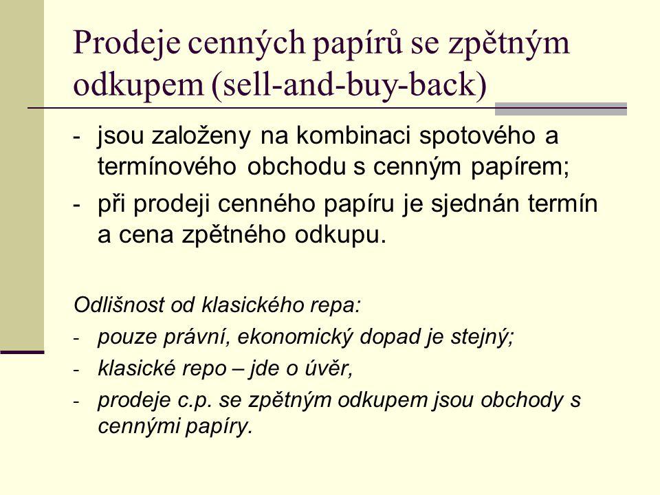 Prodeje cenných papírů se zpětným odkupem (sell-and-buy-back)