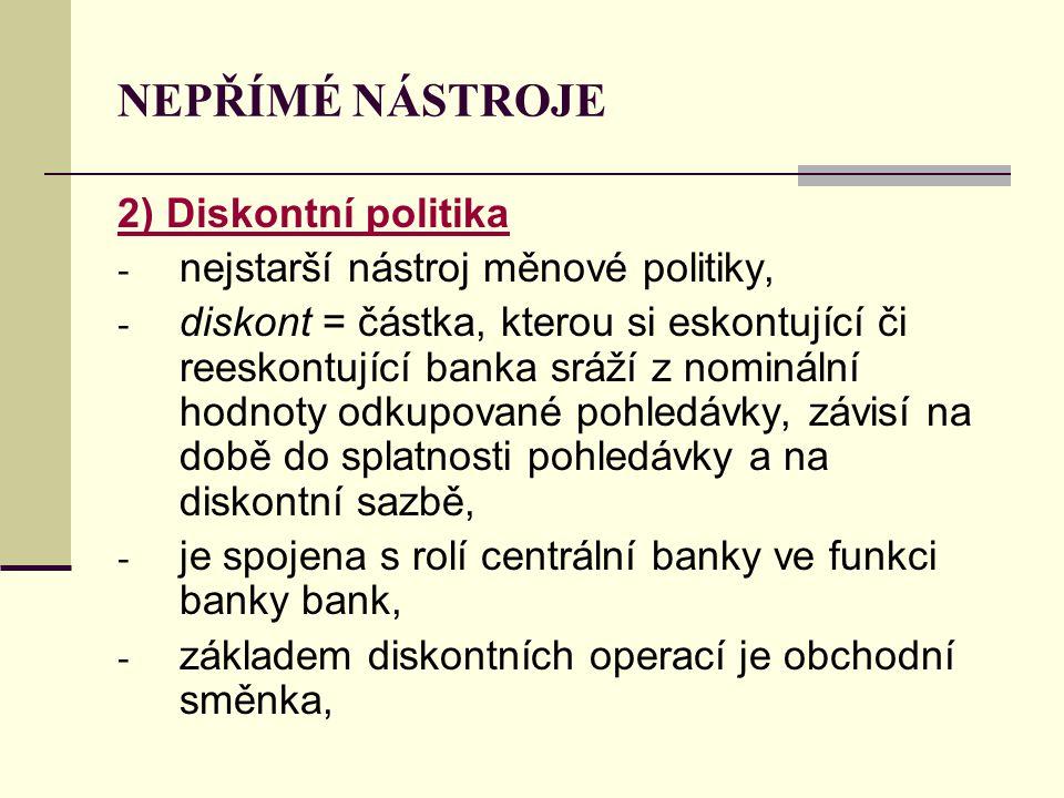 NEPŘÍMÉ NÁSTROJE 2) Diskontní politika