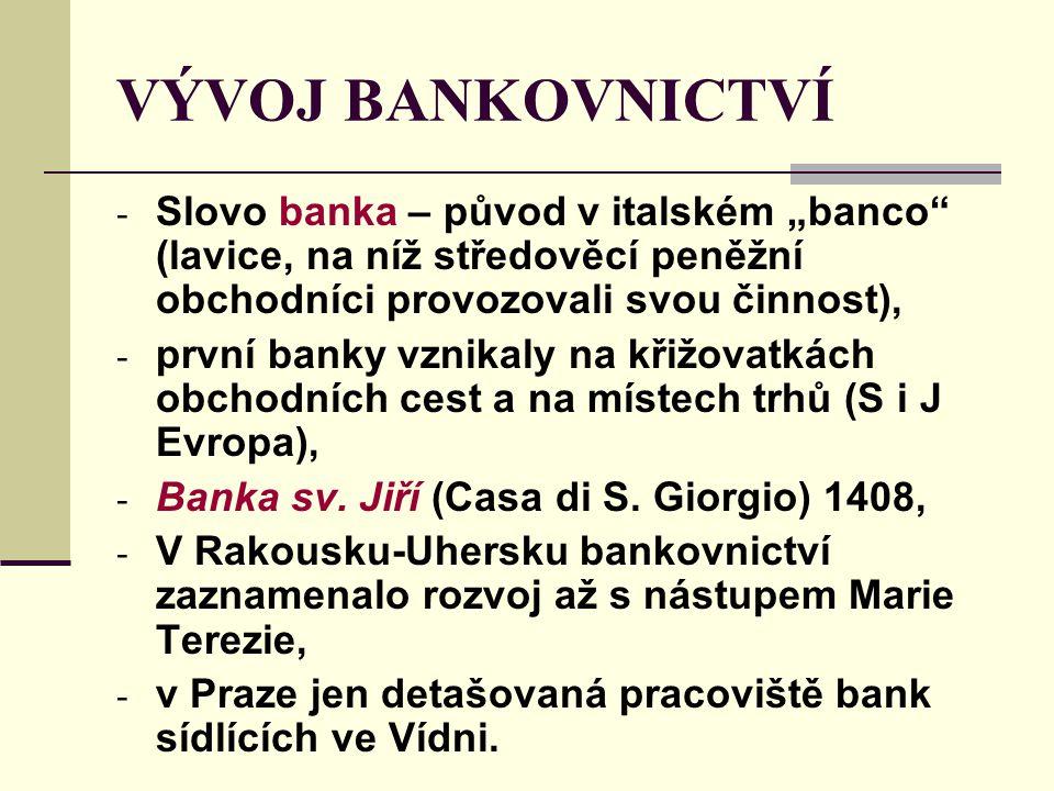 """VÝVOJ BANKOVNICTVÍ Slovo banka – původ v italském """"banco (lavice, na níž středověcí peněžní obchodníci provozovali svou činnost),"""