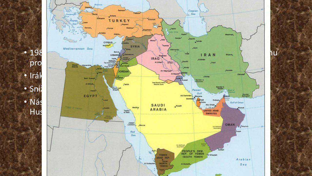 Pozadí / příčiny 1980 – 88 Íránsko-Iránská válka (zejména kvůli Iráckému jadernému programu) Irák do r. 1990 podporován USA, Francií, VB, SSSR.
