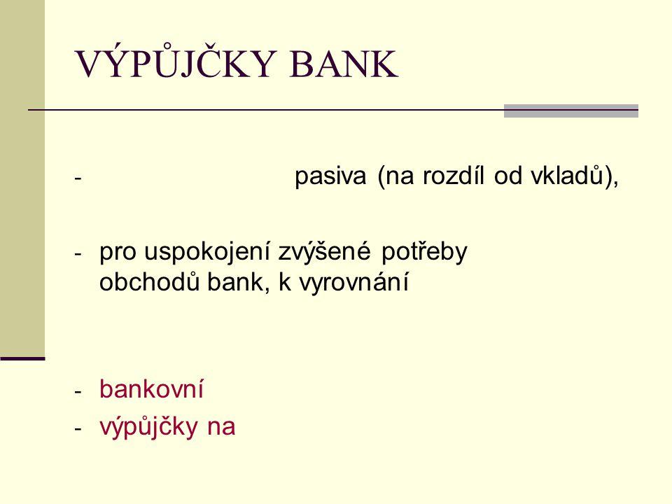 VÝPŮJČKY BANK pasiva (na rozdíl od vkladů),