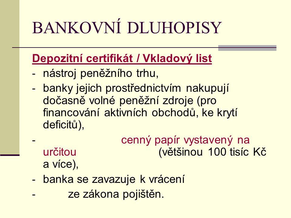 BANKOVNÍ DLUHOPISY Depozitní certifikát / Vkladový list