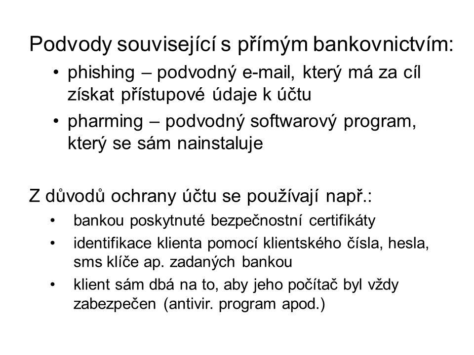 Podvody související s přímým bankovnictvím: