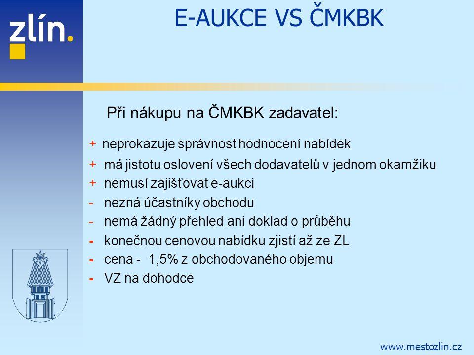 E-AUKCE VS ČMKBK Při nákupu na ČMKBK zadavatel: