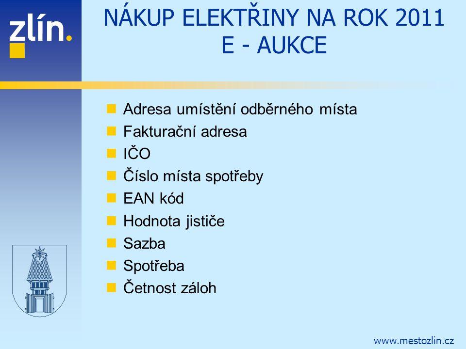 NÁKUP ELEKTŘINY NA ROK 2011 E - AUKCE