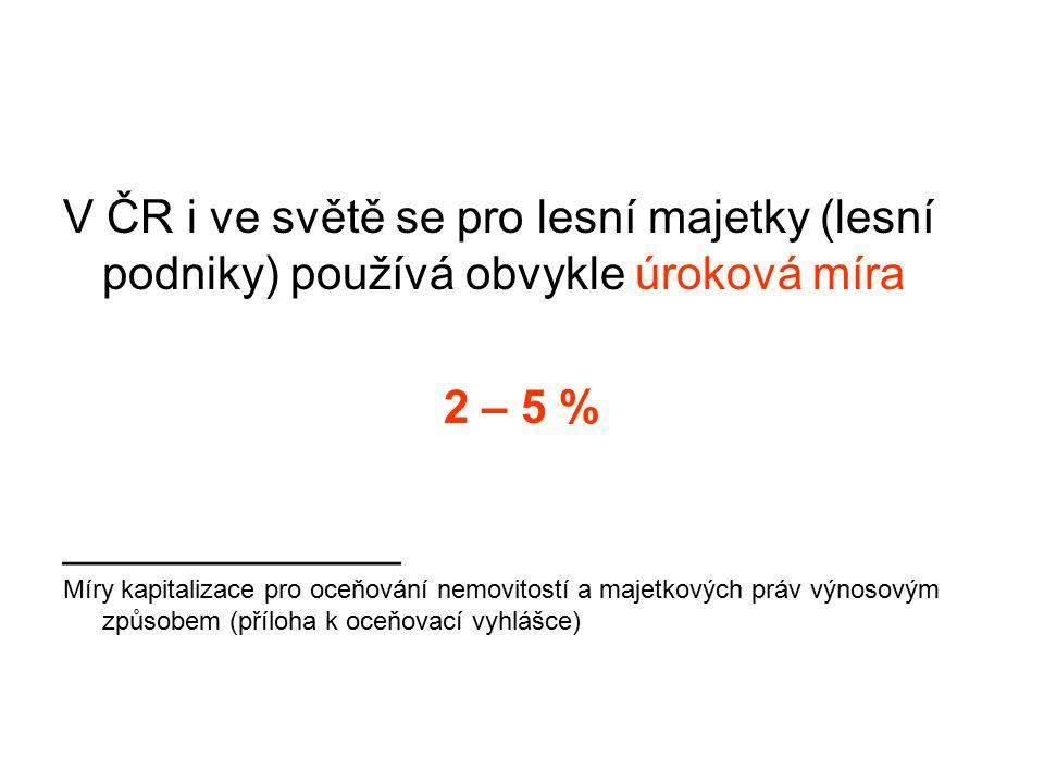 V ČR i ve světě se pro lesní majetky (lesní podniky) používá obvykle úroková míra