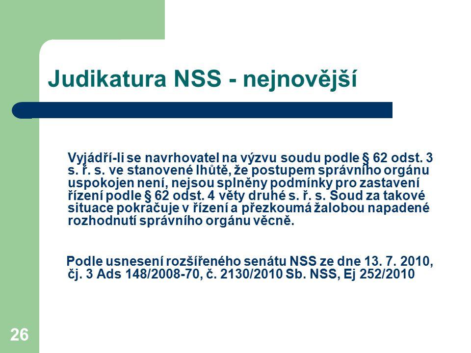 Judikatura NSS - nejnovější