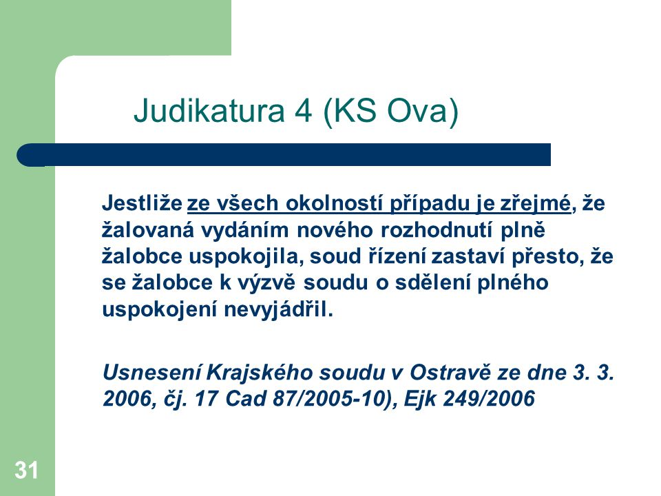 Judikatura 4 (KS Ova)