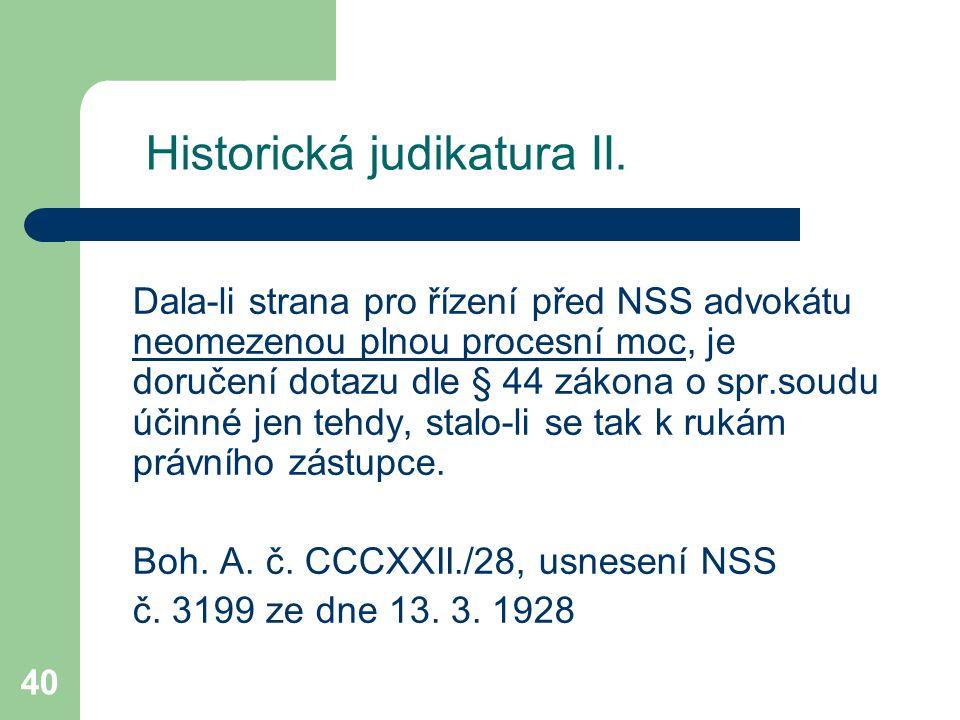 Historická judikatura II.