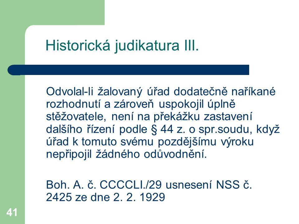 Historická judikatura III.