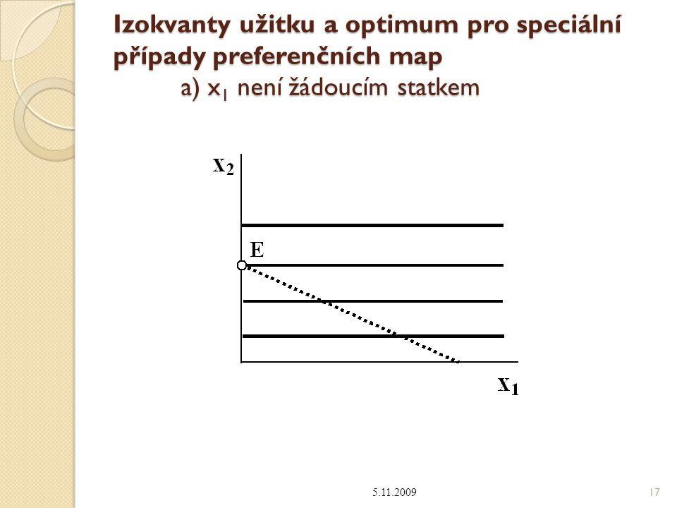 Izokvanty užitku a optimum pro speciální případy preferenčních map