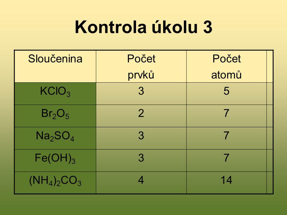 Kontrola úkolu 3 Sloučenina Počet prvků atomů KClO3 3 5 Br2O5 2 7
