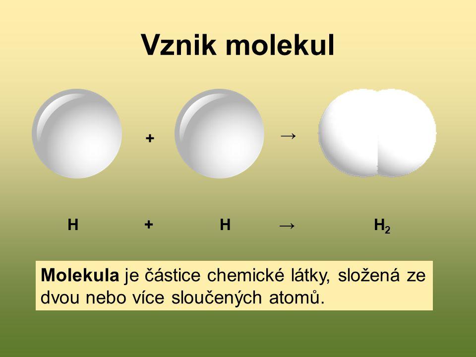 Vznik molekul → + H + H → H2.