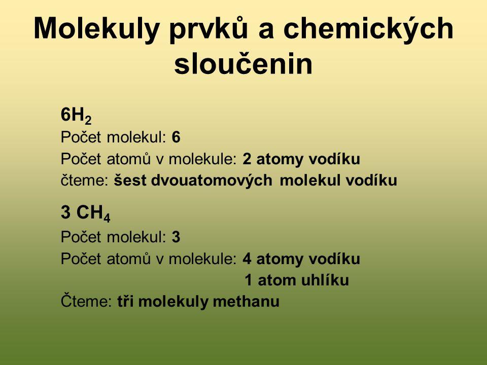Molekuly prvků a chemických sloučenin