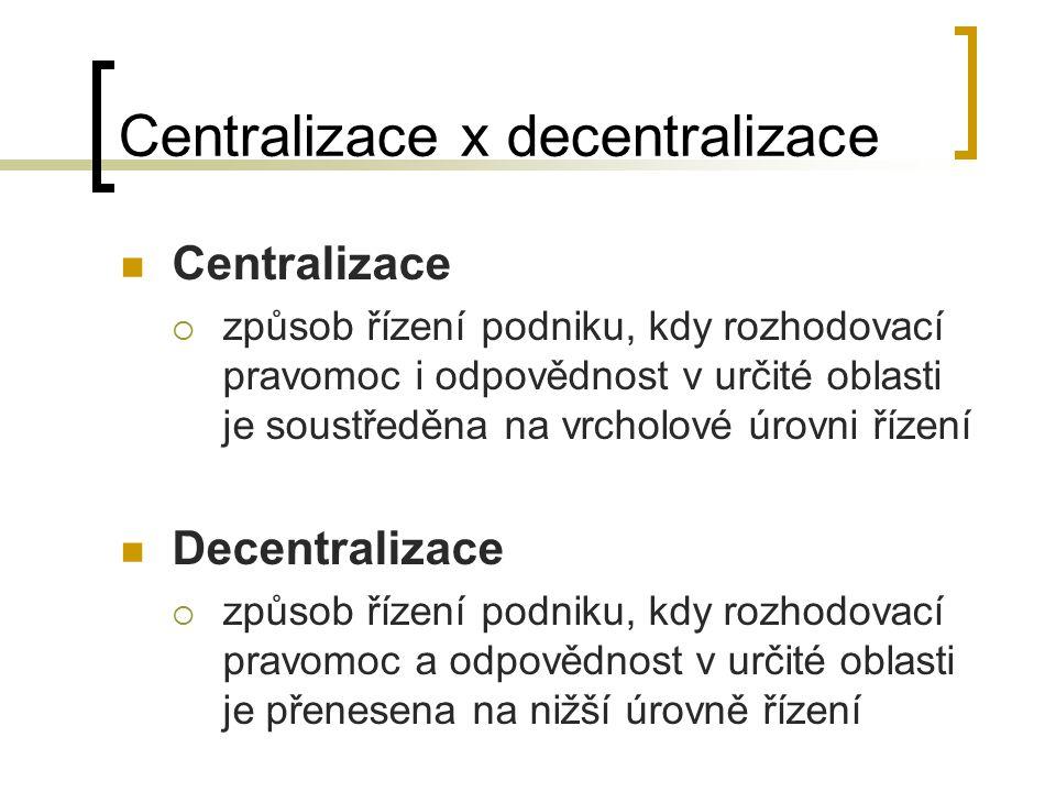 Centralizace x decentralizace