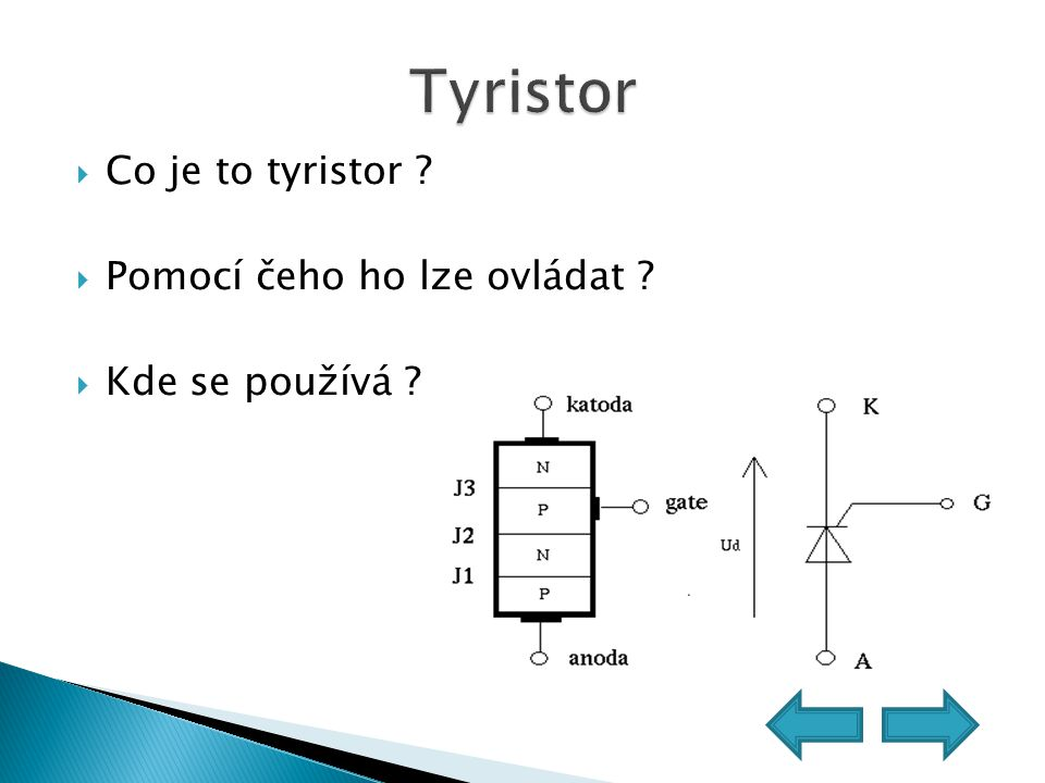 Tyristor Co je to tyristor Pomocí čeho ho lze ovládat