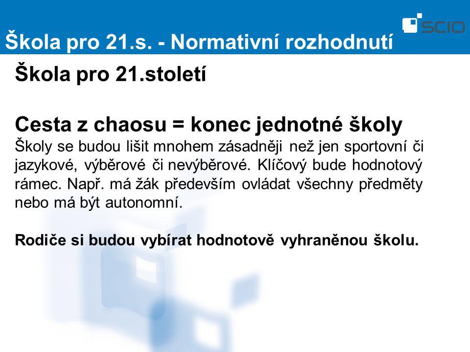Škola pro 21.s. - Normativní rozhodnutí Škola pro 21.století