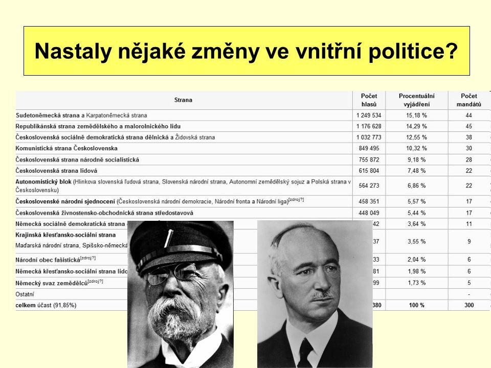 Nastaly nějaké změny ve vnitřní politice
