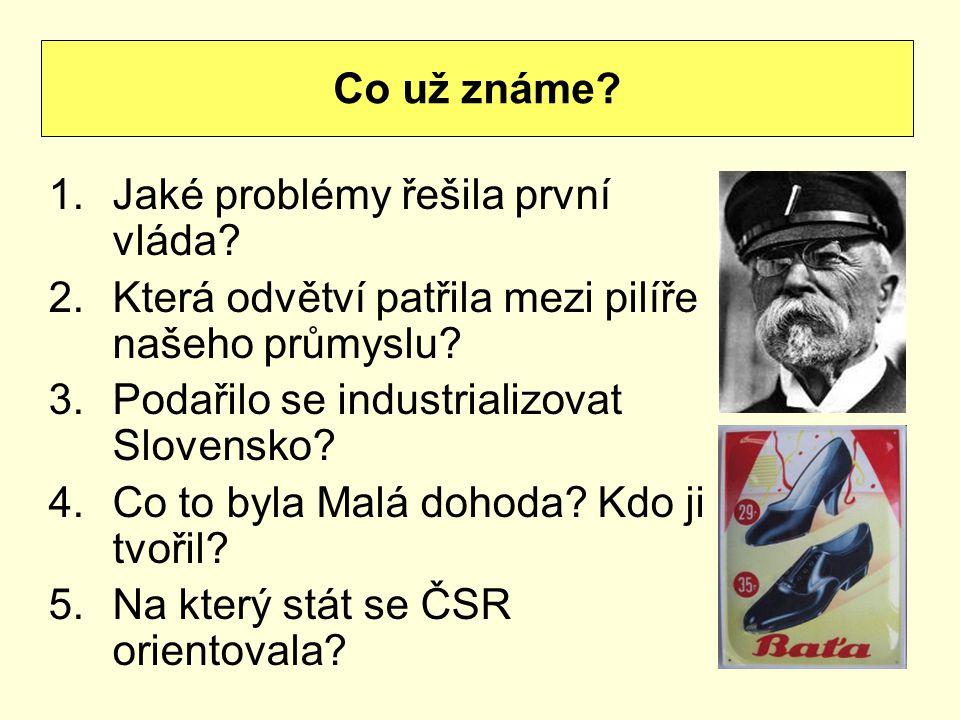 Co už známe Jaké problémy řešila první vláda Která odvětví patřila mezi pilíře našeho průmyslu Podařilo se industrializovat Slovensko