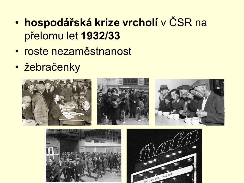 hospodářská krize vrcholí v ČSR na přelomu let 1932/33