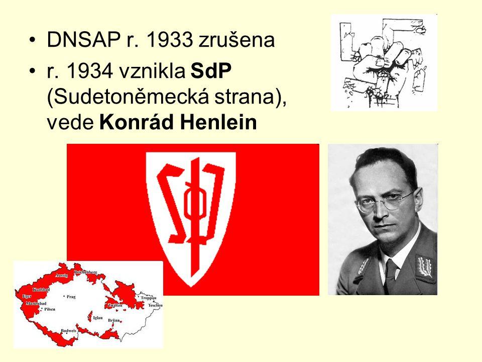 DNSAP r. 1933 zrušena r. 1934 vznikla SdP (Sudetoněmecká strana), vede Konrád Henlein