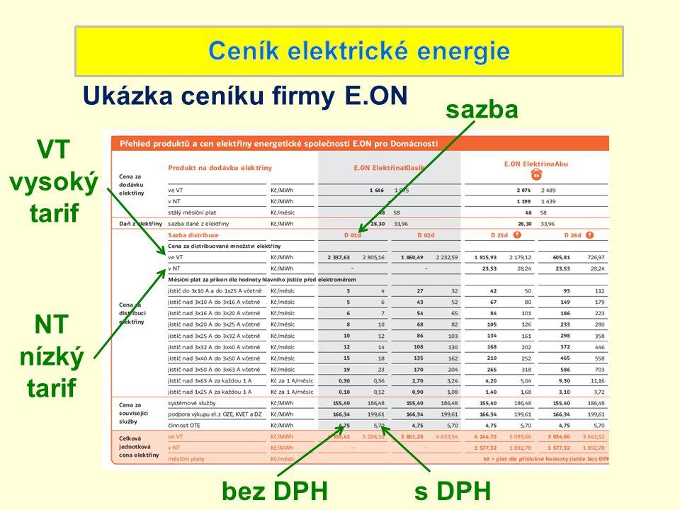 Ceník elektrické energie