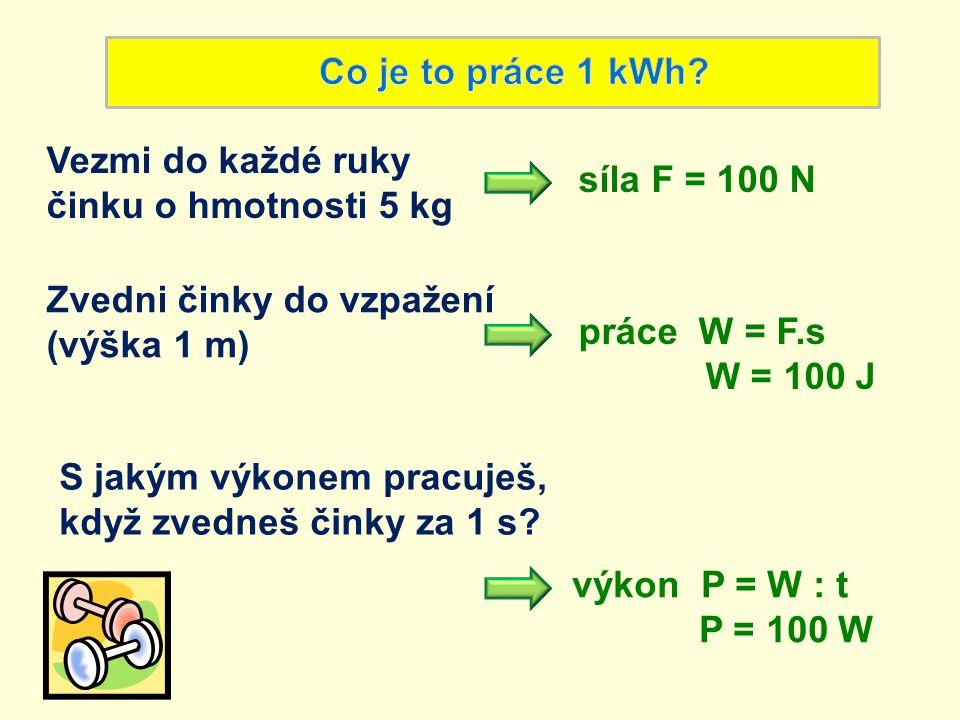 Co je to práce 1 kWh Vezmi do každé ruky. činku o hmotnosti 5 kg. síla F = 100 N. Zvedni činky do vzpažení.