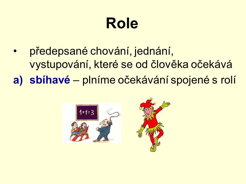 Role předepsané chování, jednání, vystupování, které se od člověka očekává.