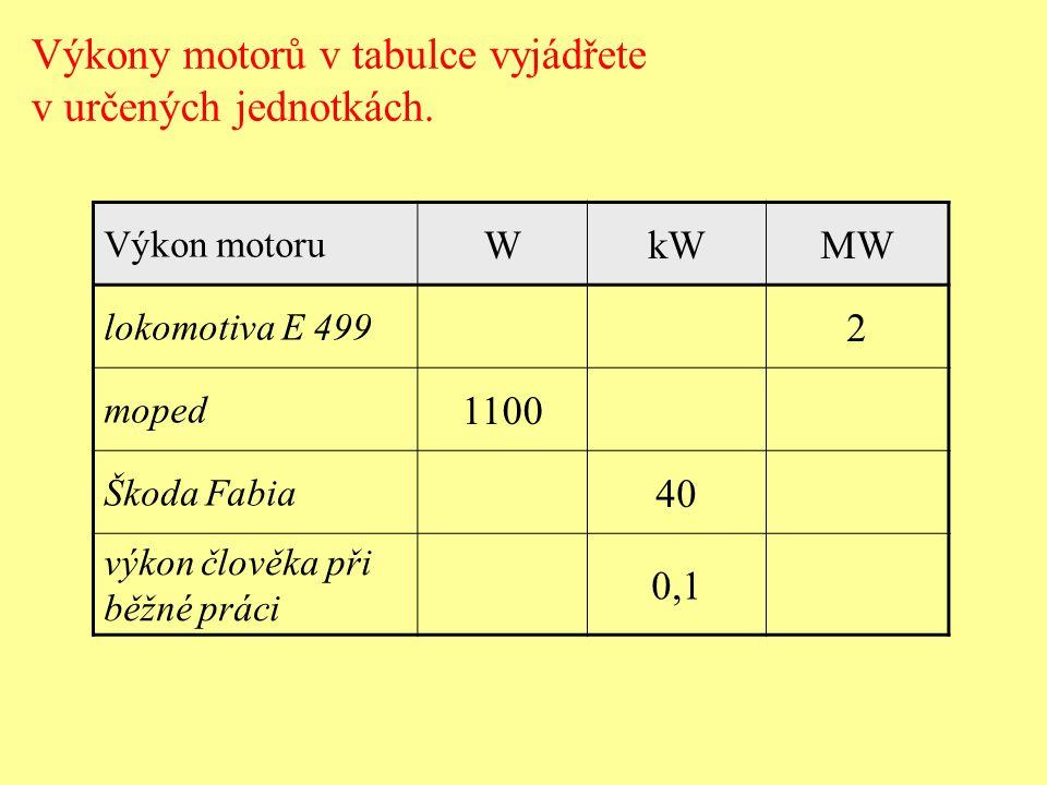 Výkony motorů v tabulce vyjádřete v určených jednotkách.