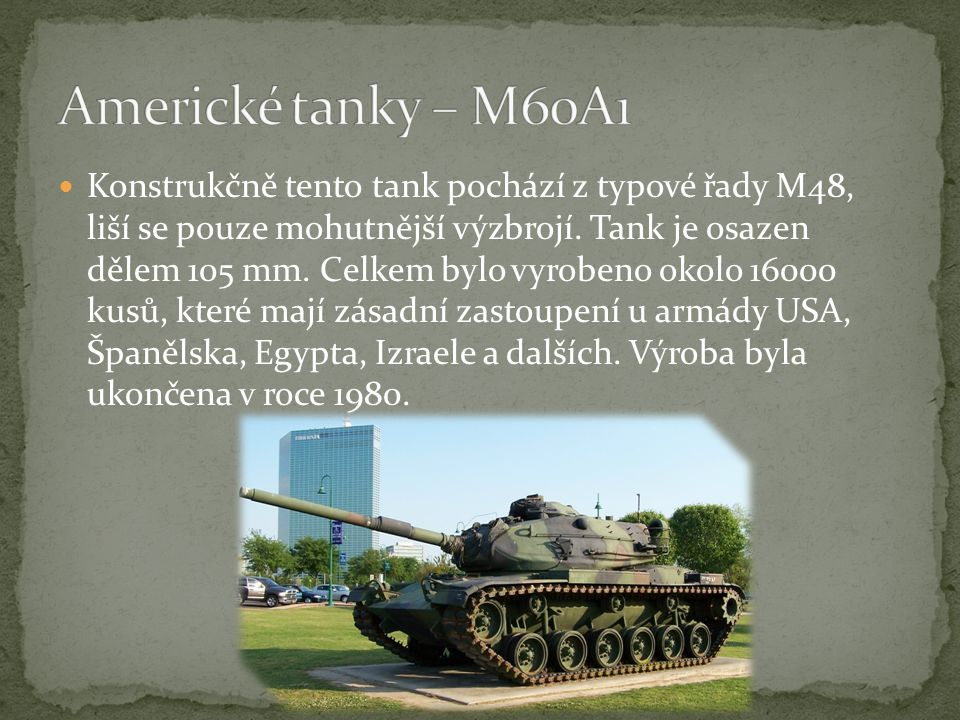 Americké tanky – M60A1