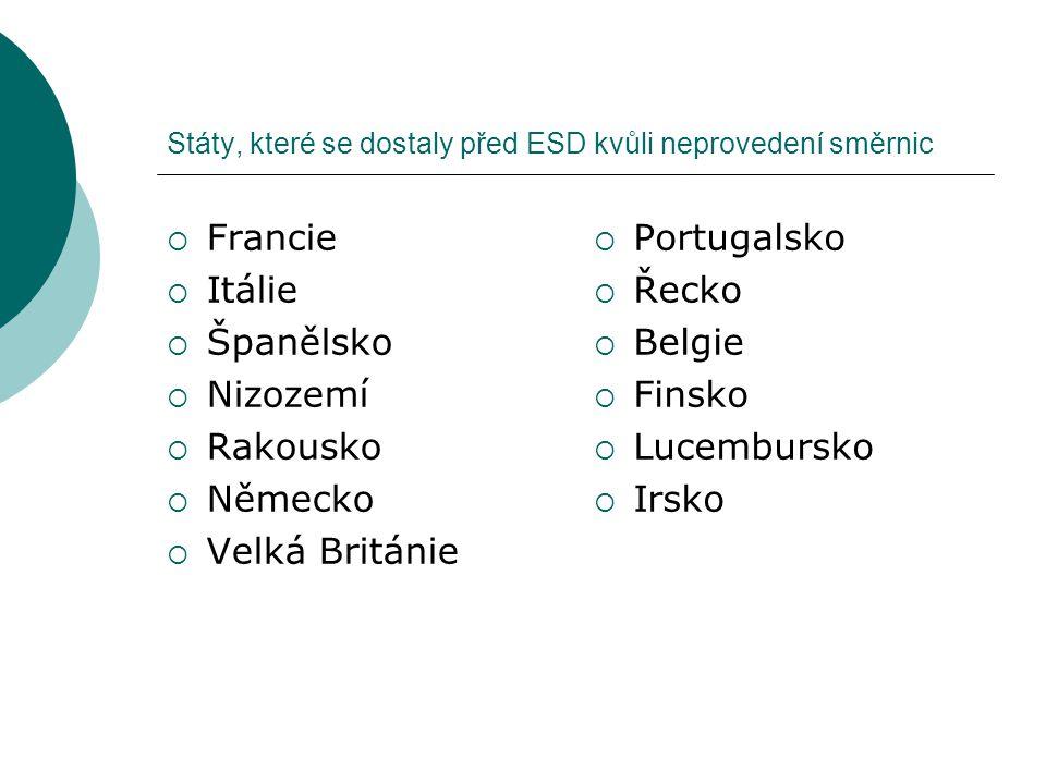 Státy, které se dostaly před ESD kvůli neprovedení směrnic