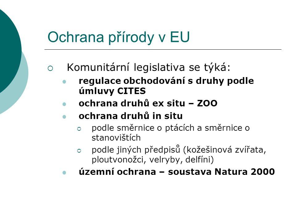 Ochrana přírody v EU Komunitární legislativa se týká:
