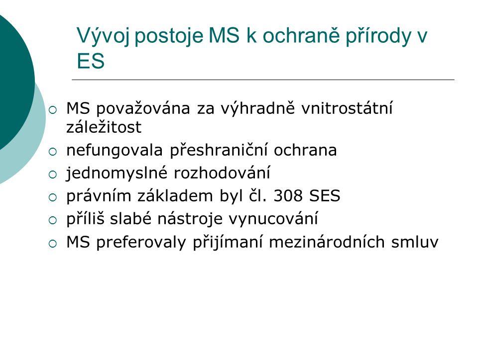 Vývoj postoje MS k ochraně přírody v ES