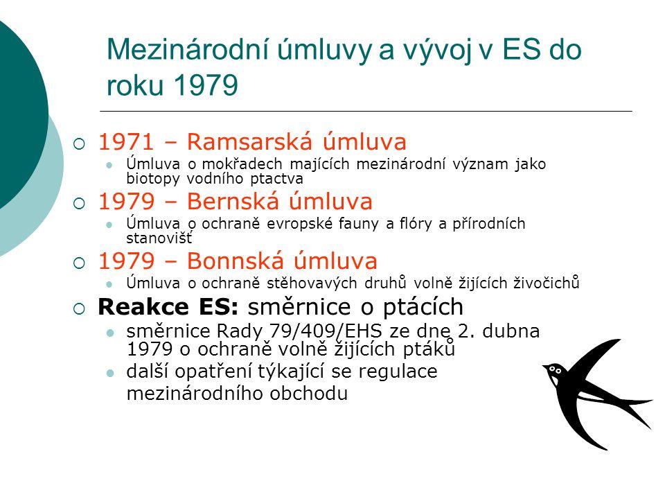 Mezinárodní úmluvy a vývoj v ES do roku 1979