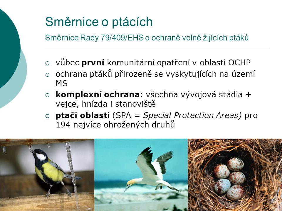 Směrnice o ptácích Směrnice Rady 79/409/EHS o ochraně volně žijících ptáků