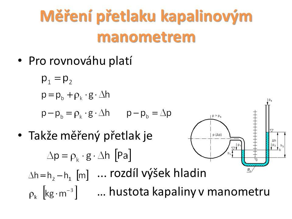 Měření přetlaku kapalinovým manometrem
