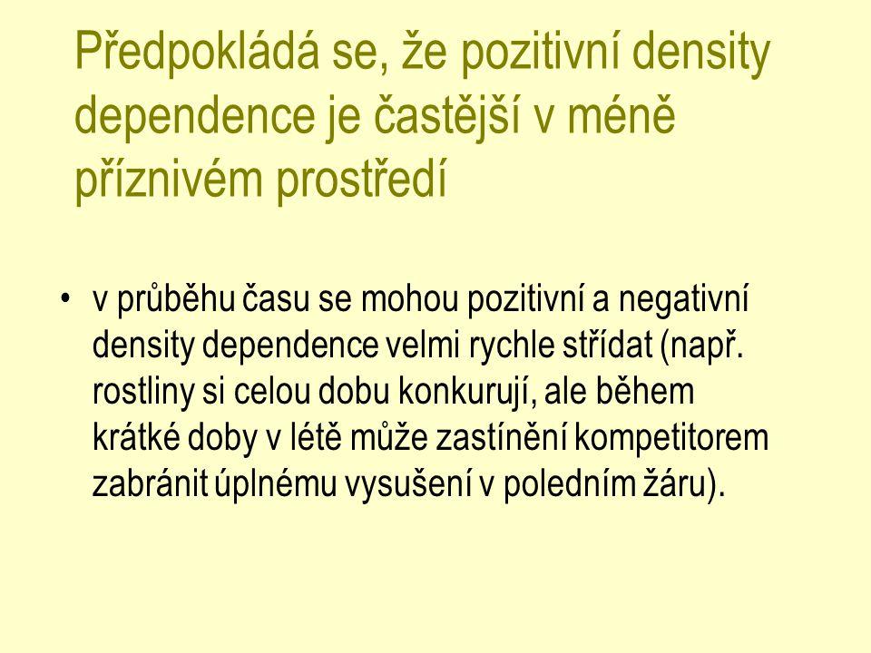 Předpokládá se, že pozitivní density dependence je častější v méně příznivém prostředí