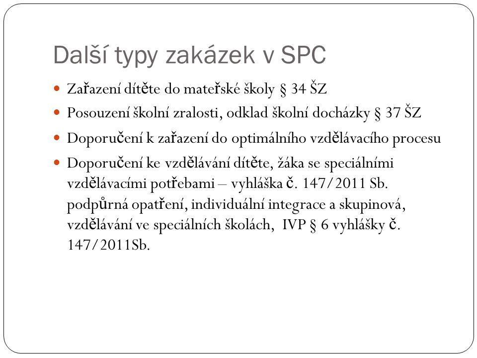 Další typy zakázek v SPC