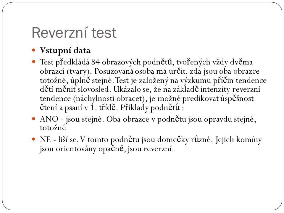 Reverzní test Vstupní data