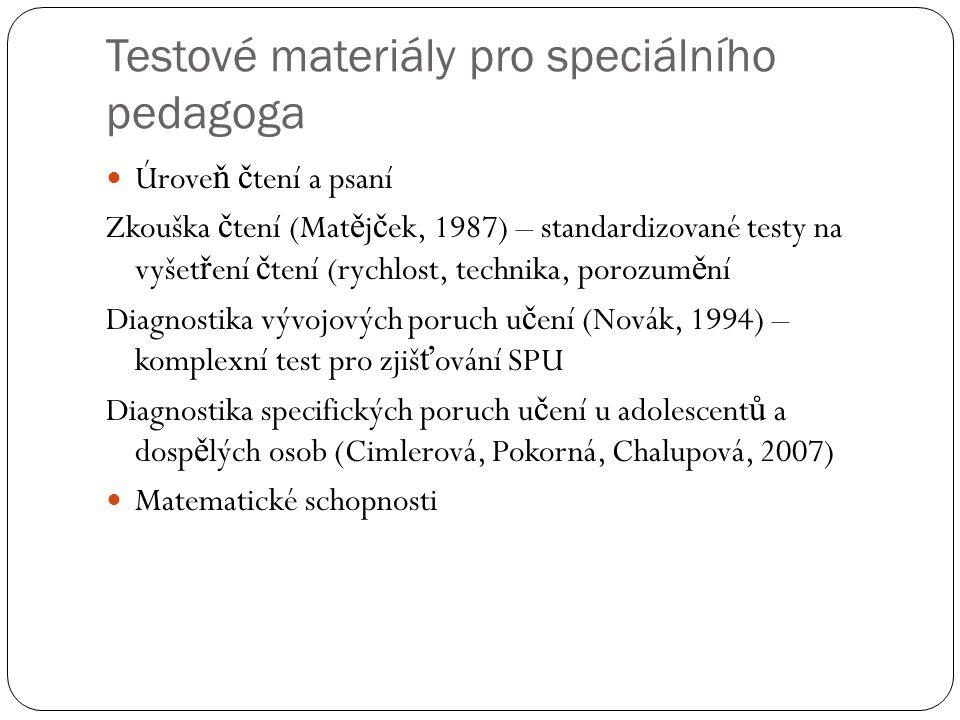 Testové materiály pro speciálního pedagoga