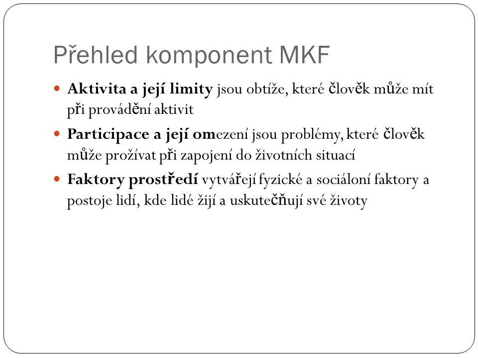 Přehled komponent MKF Aktivita a její limity jsou obtíže, které člověk může mít při provádění aktivit.