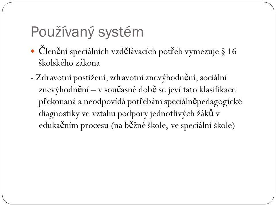 Používaný systém Členění speciálních vzdělávacích potřeb vymezuje § 16 školského zákona.