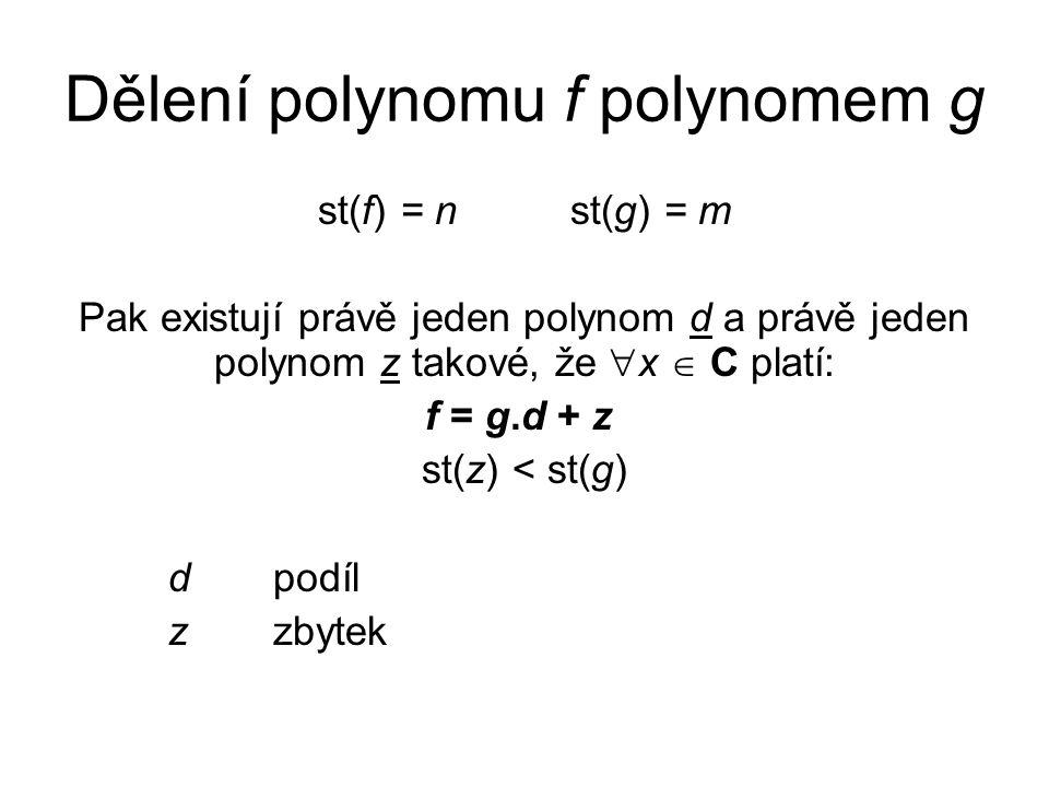 Dělení polynomu f polynomem g