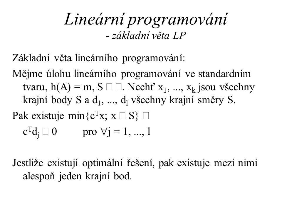 Lineární programování - základní věta LP