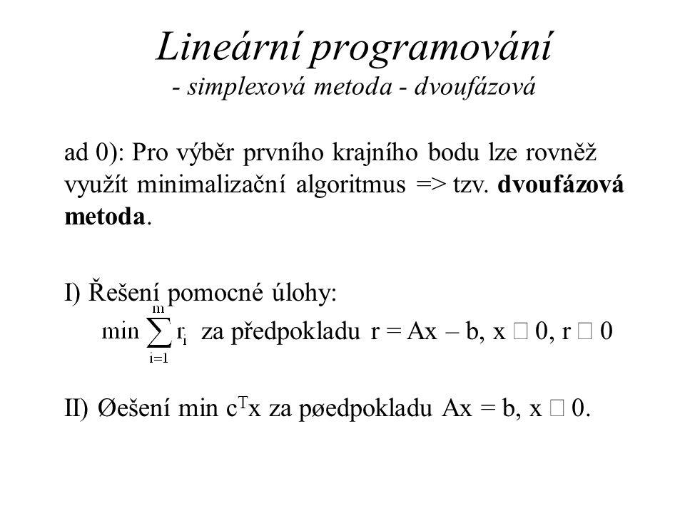 Lineární programování - simplexová metoda - dvoufázová
