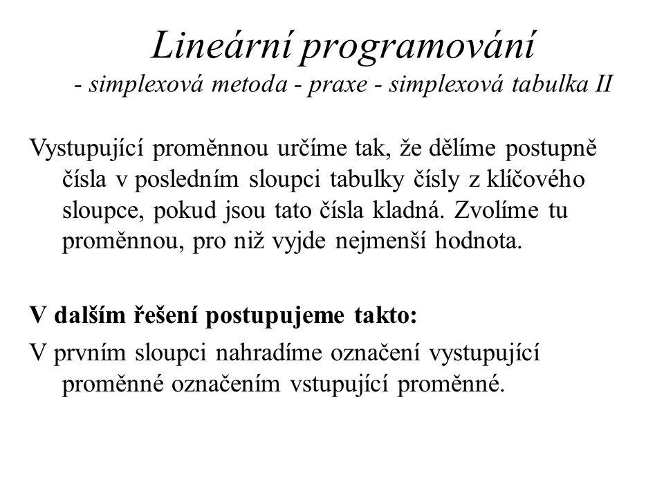 Lineární programování - simplexová metoda - praxe - simplexová tabulka II