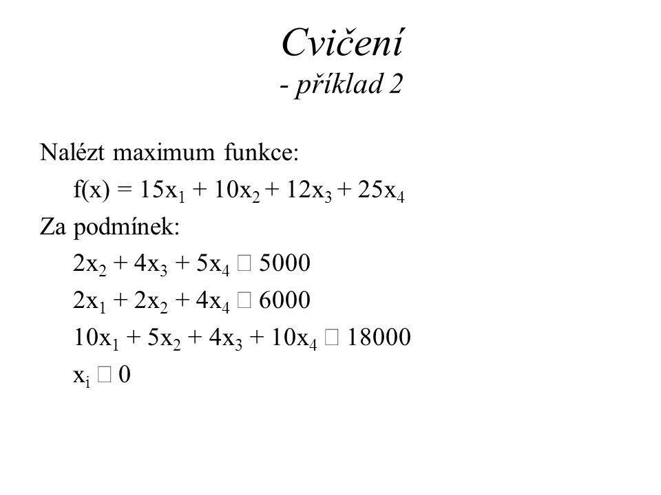 Cvičení - příklad 2 Nalézt maximum funkce: